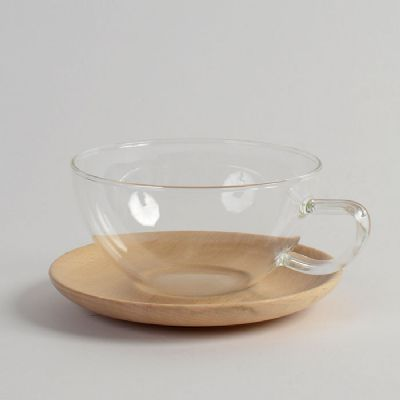 Trendglas Glass Cup with Wood Saucer